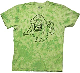 Ripple Junction Ghostbusters Adult Unisex Slimer Outline Light Weight 100% Cotton Tie-Dye Crew T-Shirt