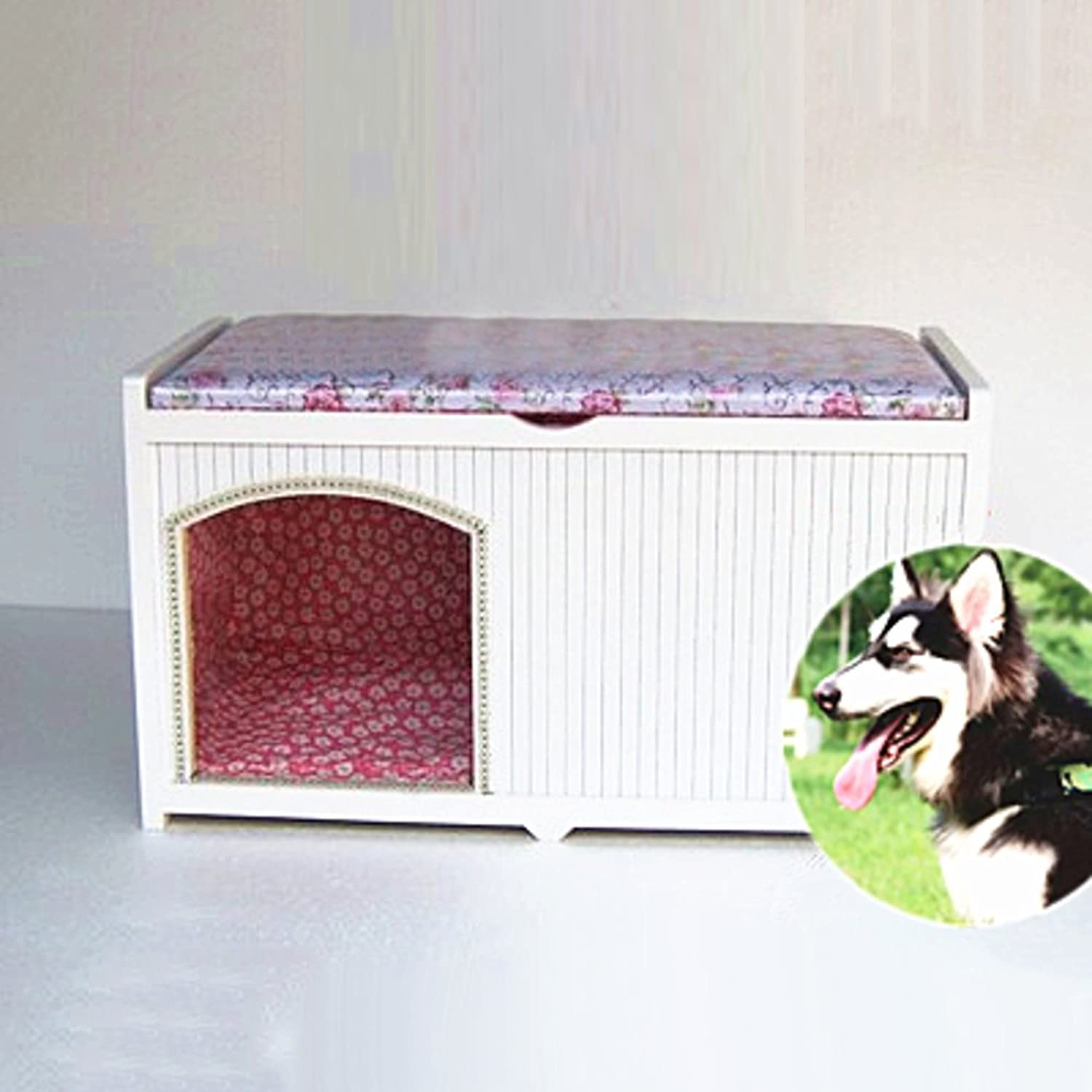 Nclon Solid wood Home Dog house Dog kennel Dog house Cage Dog shelter With door Cat litter Pet Changing shoes stoolC 45  30  35CM