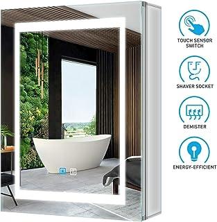Tokvon Viewfinder Muebles de baño con luz LED Mueble de Espejo de Aluminio con Enchufe para máquina de Afeitar Interruptor de atenuador LED antivaho Puerta Doble 500x700 mm para Afeitar