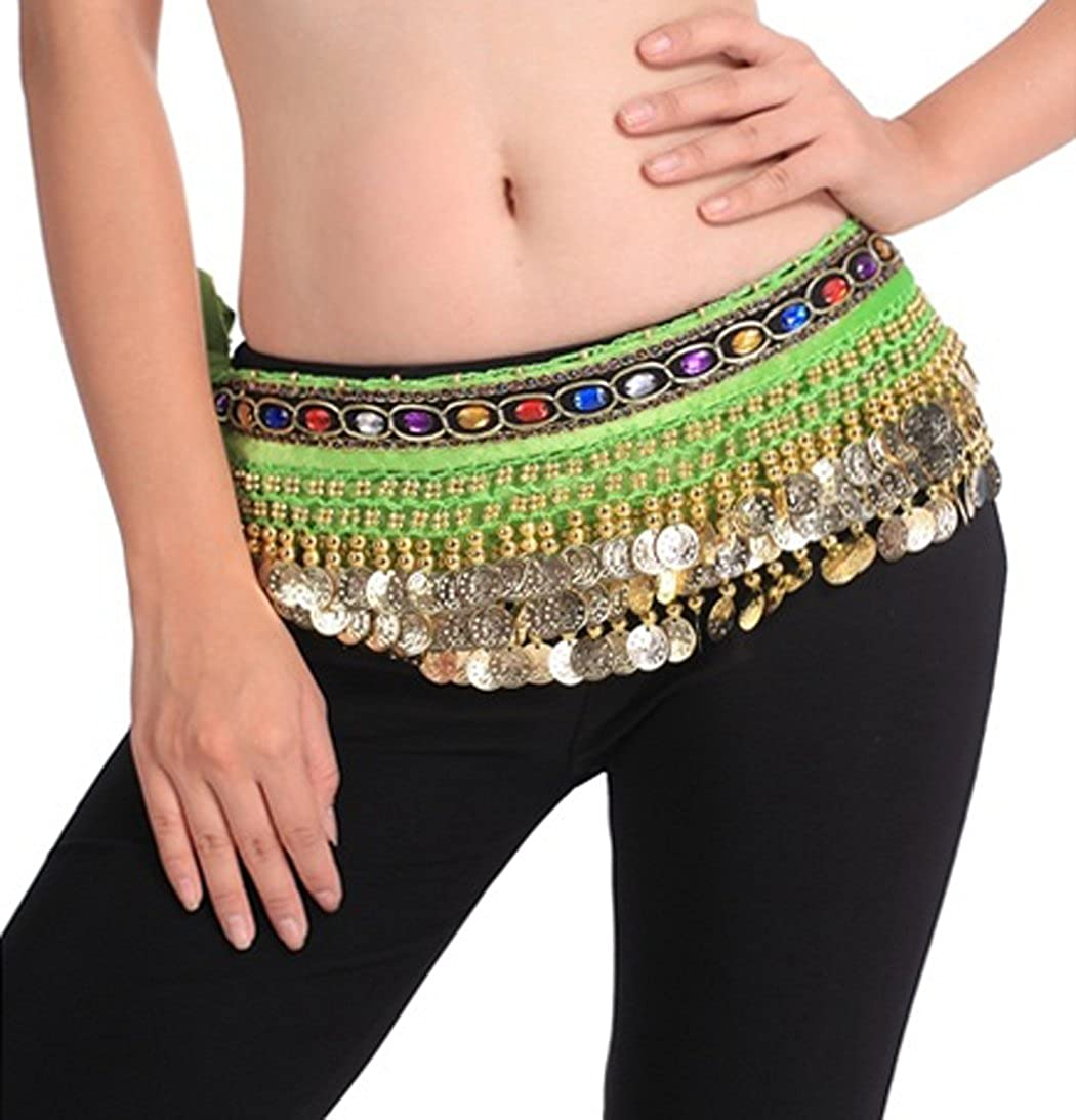 Astage Women`s 150cm Gold Coins Belly Dance Hip Scarf