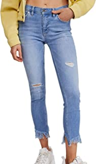 Free People Womens Great Heights Skinny Jeans Blue US Size 24 Frayed Hem