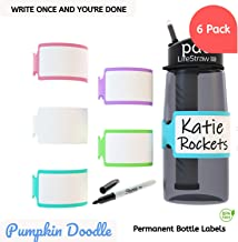 Personalize-able Write-on Labels for Bottles/Sippy Cups/Food Containers 6pcs (Multi-Color)