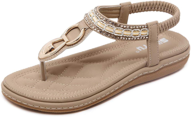York Zhu Flat Sandals for Women Bohemia Flip Flops Summer Beach Comfort Walking shoes