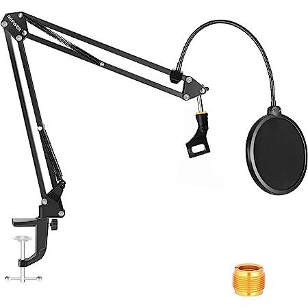 """Neewer NW-35 Kit Braccio Boom per Microfono, Supporto per Microfono a Forbice con Clip, Filtro Pop e Adattatore da 3/8"""" a 5/8"""", Compatibile con Blue Yeti, Blue Snowball, ecc."""