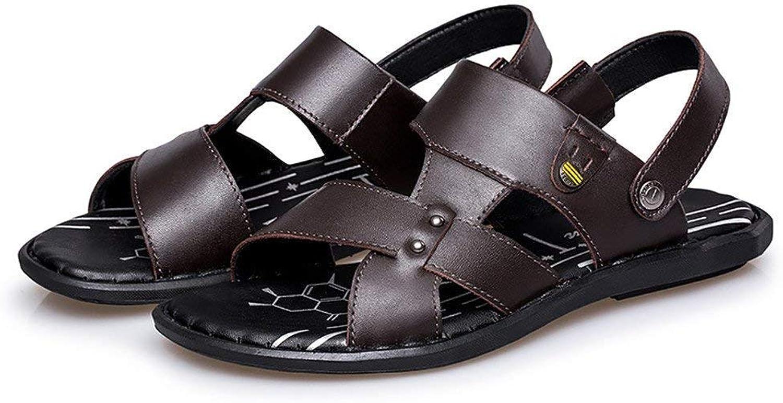 Fuxitoggo 2018 Men's Sandals Flat heel slip on strap sandals (color   Brown, Size   45 EU)