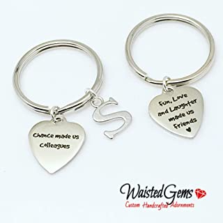 Colleagues Custom Charm Keychain, Secret Santa, Gift Ideas, Key Chains, Fun, Love, and Laughter made us friends, Co-Workers, Employee Appreciation