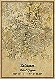 UK Leicester Map Wandkunst-Poster auf Leinwand,