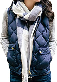 Women Vest Soft Cotton Lightweight Stand Collar Zip Up Quilted Sleeveless Gilet with 2 Pockets Winter Warm