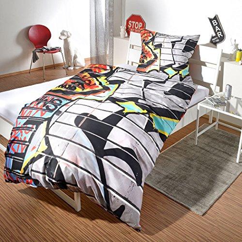 G Bettwarenshop Renforcé Bettwäsche Set Graffiti • Mega Coole Bunte Jugendzimmer Bettwäsche NYC Street Art Design In 100% Baumwolle Mit Reißverschluss • 135x200 cm + 80x80 cm
