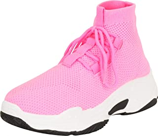 Cambridge Select Women's Ugly Dad Knit Sock Lace-Up Chunky Platform Fashion Sneaker