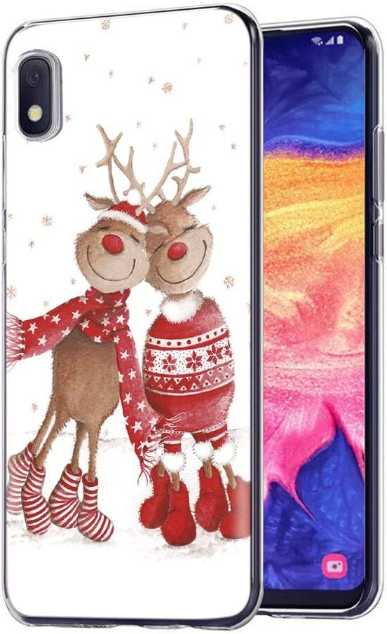 Eouine for Samsung Galaxy A10e Case, Phone Case Transparent Clear with Pattern Ultra Slim Shockproof Soft Gel TPU Silicone Back Cover Bumper Skin for Samsung Galaxy A10e Smartphone. (2 Deer)