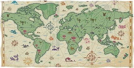 Toalla 15x30 Pulgadas Mano Grande Retro Mapa del Mundo Árboles Volcán Montañas Baño Ultra Suave Absorbente Baño Multiusos para la decoración del hogar de Manos, Cara, Gimnasio, Deportes y SPA