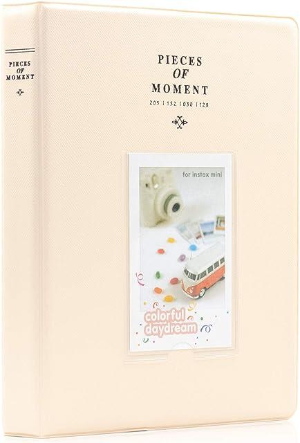 Amimy 128 Pockets álbum de Fotos para Fujifilm Instax Mini 7s 8 8+ 9 25 50 70 90 Polaroid Snap PIC-300 HP Piñón Kodak Mini 3 Pulgadas Film (Beige)
