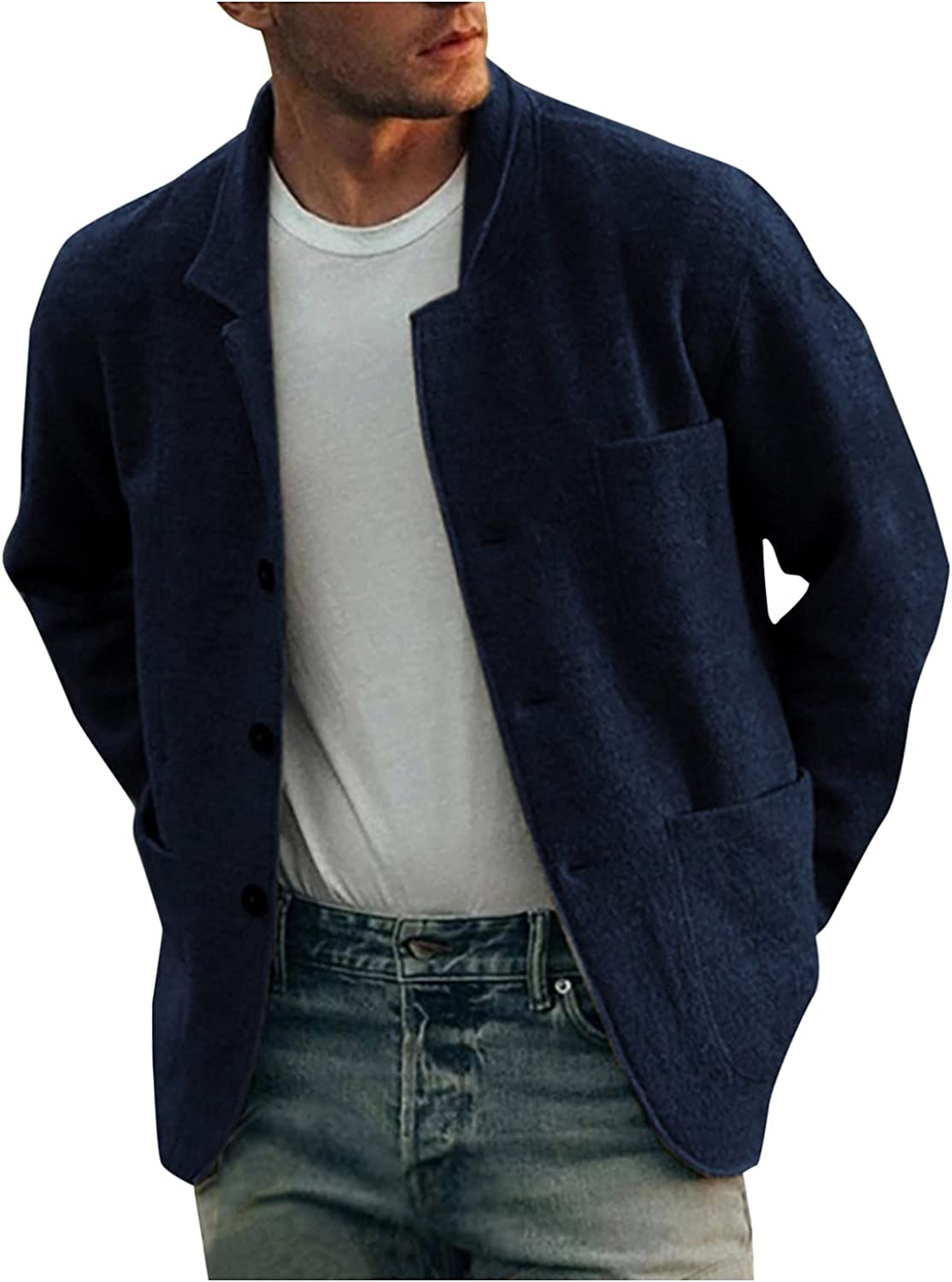 Mens Button Down Casual Military Jackets Work Lapel Collar Breathable Long Sleeve Cotton Lightweight OutdoorJackets