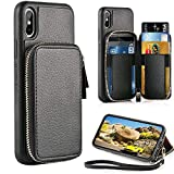 ZVE Case for Apple iPhone Xs and iPhone X, 5.8 inch, Leather Wallet Case with...