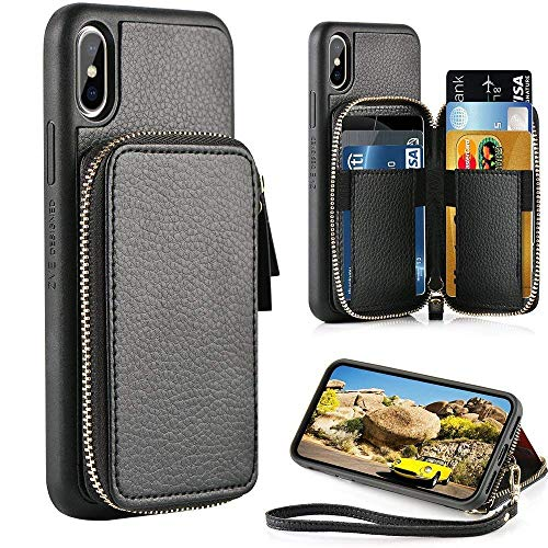 ZVE Case for Apple iPhone Xs and iPhone X, 5.8 inch, Leather Wallet Case with Credit Card Holder Slot Wallet Zipper Wallet Pocket Purse Handbag Wrist Strap Case for Apple iPhone Xs 2018 - Black