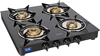 Glen 55 cm 4 Burner LPG Gas Stove 1040 GT XL Junior Brass Burners Black - ISI Certified