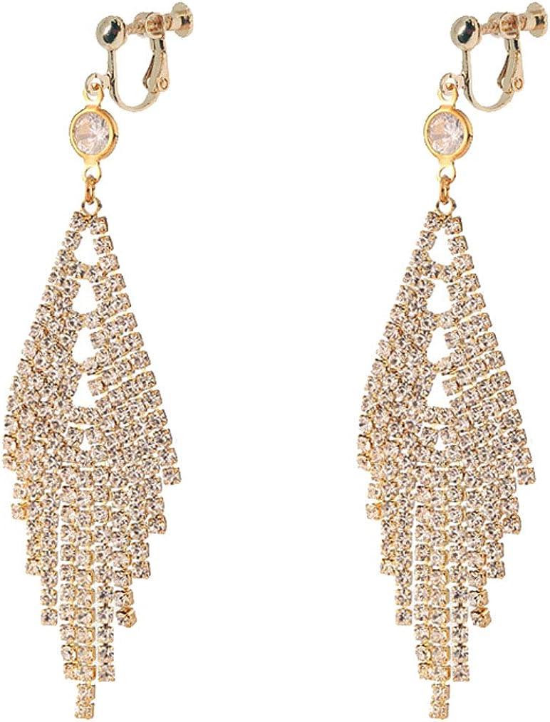 Waterfall Clip on Dangle Earrings for Women Girls Chandelier Drop Boho Tassel Rhinestone Linear Fringe