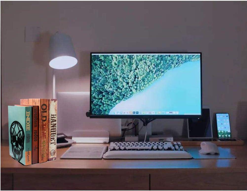 Skull Book Ends for Heavy Books Book Shelf Holder Home Office Decorative Desktop Organizer Metal Skull Design White Bookend Heavy-Duty Bookends for Shelves 1 Pair-White