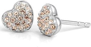 Sterling Silver Swarovski Petite Heart Stud Earrings - Rose