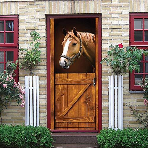 3D Türauwandbild Pferd Wasserdicht Pvc Abnehmbar Türpanel - Türposter Türaufkleber Für Wohnzimmer, Schlafzimmer Tür Dekoration 95X215Cm