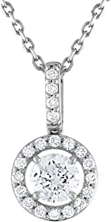 14k White Gold Lab Grown Diamond Round Halo Pendant (1ct tw, H-I Color, SI Clarity)