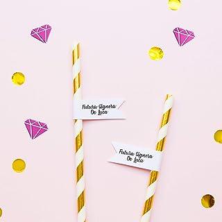 Cannucce personalizzate per matrimonio compleanno carta Addio al nubilato festa Confezione di 5 e più