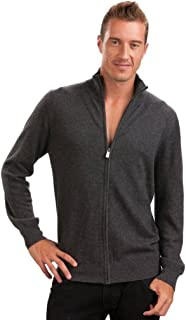 Citizen Cashmere Men Long Sleeve Cardigan Sweater with Zipper - 100% Cashmere