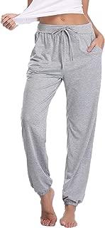 Women's Cotton Pajama Pants Stretch Knit Lounge Pants with Pockets Grey L
