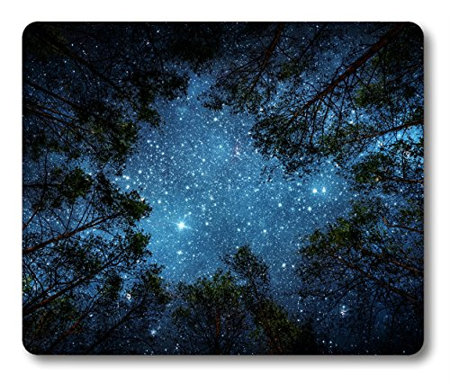 Beautiful Night Sky Mouse Pad by Smooffly, The Milky Way and The Trees Mouse Pad,Sublime Forest Nature View Rectangle Non-Slip Rubber Mousepad Gaming Mouse Pad