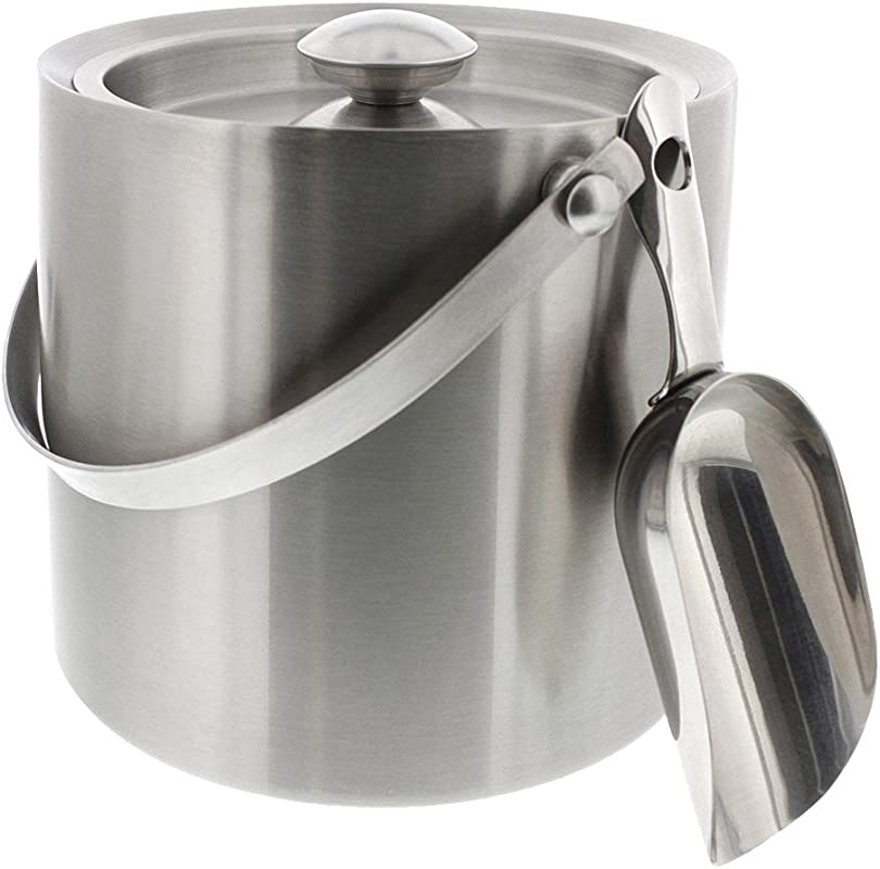 Juvale Ice Bucket With Scoop Lid And Handle Stainless Steel