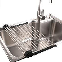 Roll Up Dish Drying Rack in Sink Stainless Steel Kitchen Folding Rack Over Sink Dish Drainer16.9''(L) x10.2''(W)
