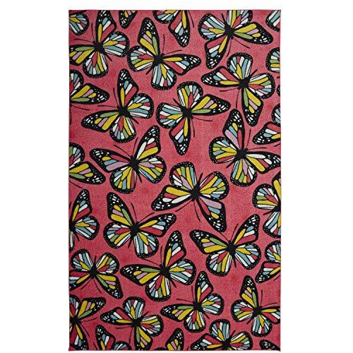 Mohawk Home Prismatischer Kinderteppich Schmetterlinge 8'x10' Rose