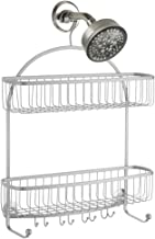 iDesign York Lyra Extra Wide Bathroom Shower Caddy for Shampoo, Conditioner and Soap, Silver - ID62086ES