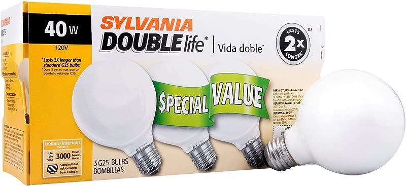SYLVANIA Home Lighting 15345 Incandescent Bulb G25 40W Soft White Finish Medium Base Pack Of 3