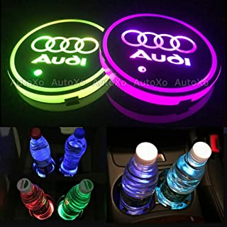 LED Car Cup Holder Lights for Audi 7 Colors Changing USB Charging Mat Luminescent Cup Pad LED Interior Atmosphere Lamp 2pcs
