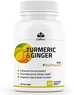 Zaffrus - Turmeric Curcumin & Ginger with BioPerine (Black Pepper) to Support Joints & Pain Relief, Enhance Immune System,...