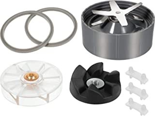 8 Pieces Blender Replacement Parts for Nutribullet Includes Rubber Sealing Gasket Lip Ice Blade Shock Pad Motor Top Base Gear Black Rubber Gear Compatible with Nutribullet 600W 900W Blender