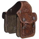 Tough 1 Saddle Bag Adjustable Buckle Leather Medium Oil 61-9915