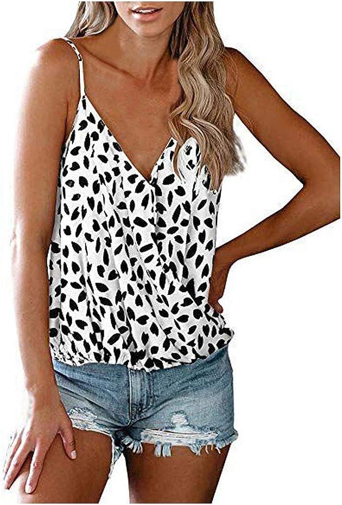 AODONG Women Tank Top,Women's Spaghetti Straps V Neck Camisole Leopard Sleeveless Soft Tank Tops