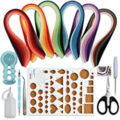 30 colors paper quilling 100strips and 5 colors/pkg,600 strips total,390mm length(approx. 15 3/8 inch.) Quilling board, A box of Pearl Pin (work with the board) Two-heads quilling tool, one is slotted and the other is embossing Tweezers, Awl, Scissor...