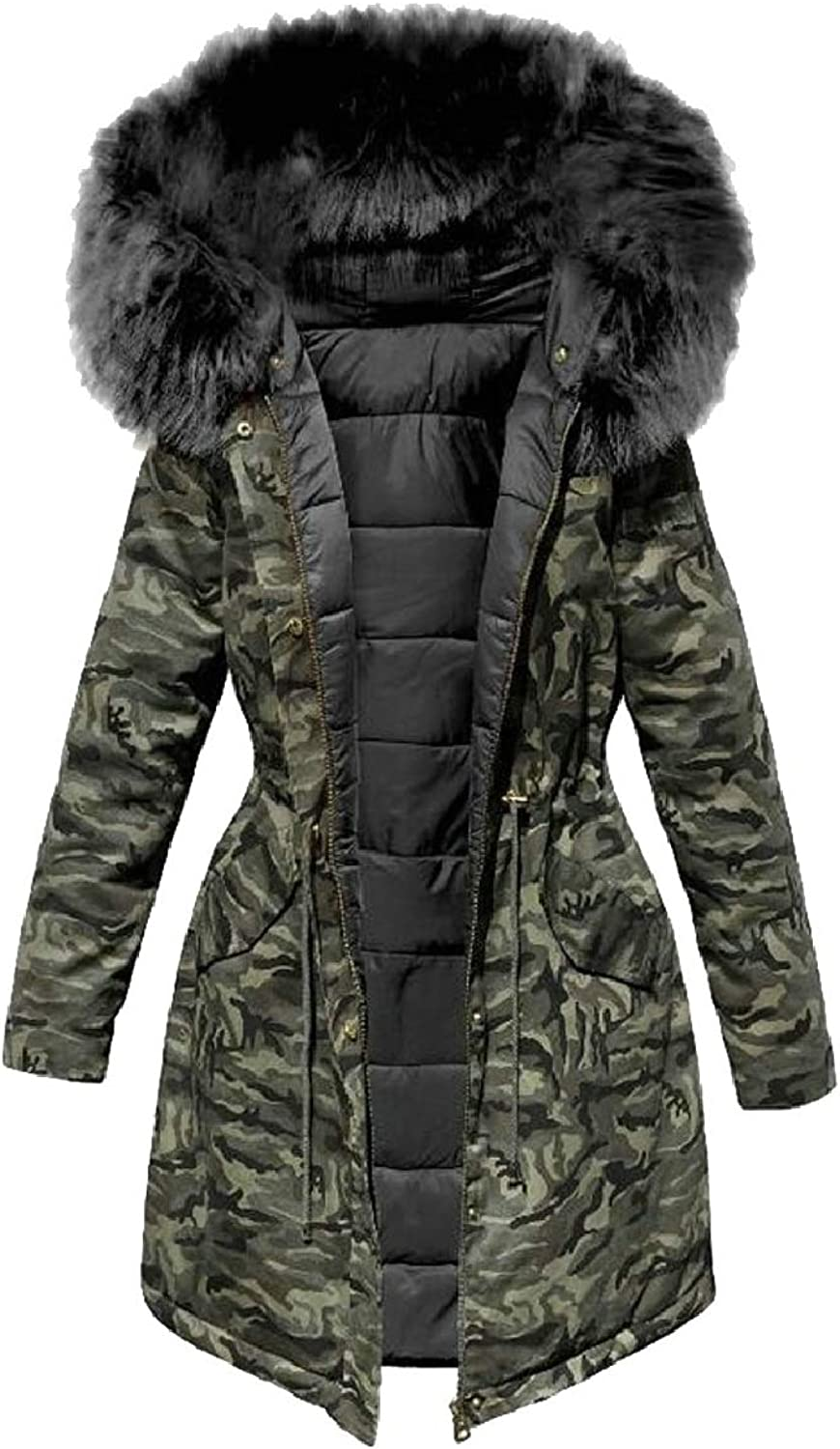 Xswsy XGCA Women's Winter Warm Camo Down Quilted Puffer Jacket with Faux Fur Hood