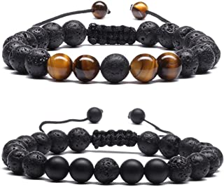 Mens Women 8mm Lava Stone Rock Bracelet Aromatherapy Anxiety Essential Oil Diffuser Yoga Bangle