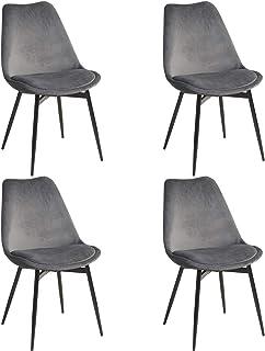 Yata Home - 4 sillas de comedor, silla de cocina, asiento acolchado de terciopelo escandinavo, patas de metal estable (gris)