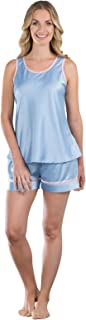 Women's Dreamy Satin Short Set with Tank Top, Blue