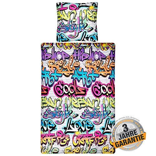 Aminata Kids Coole Bettwäsche-Set Graffiti-Motiv 135 x 200 cm, 80 x 80 cm, Jungen, Jungs, Mädchen & Jugendliche -Baumwolle, Reißverschluss, bunt, Street-Art, leuchtende Farben, kein Glow in The Dark