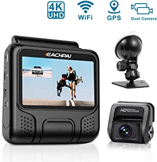 4K Dash Cam for Cars, EACHPAI E100 Pro Dash Camera Dual Front and Rear for Trucks, Ridershare Drivers with WI-FI, GPS, Motion Detection, Parking Monitor, G-Sensor, Loop Recording, WDR