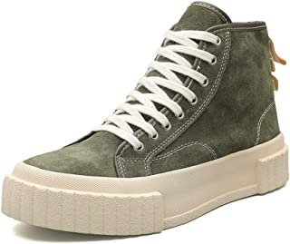 XinQuan Wang Ankle Boots for Men Fashion Sneaker Round Toe Lace up Suede Upper Flat Heel Vegan Solid Colour High Top Shoes Platform (Color : Jungreen, Size : 2 UK Child)