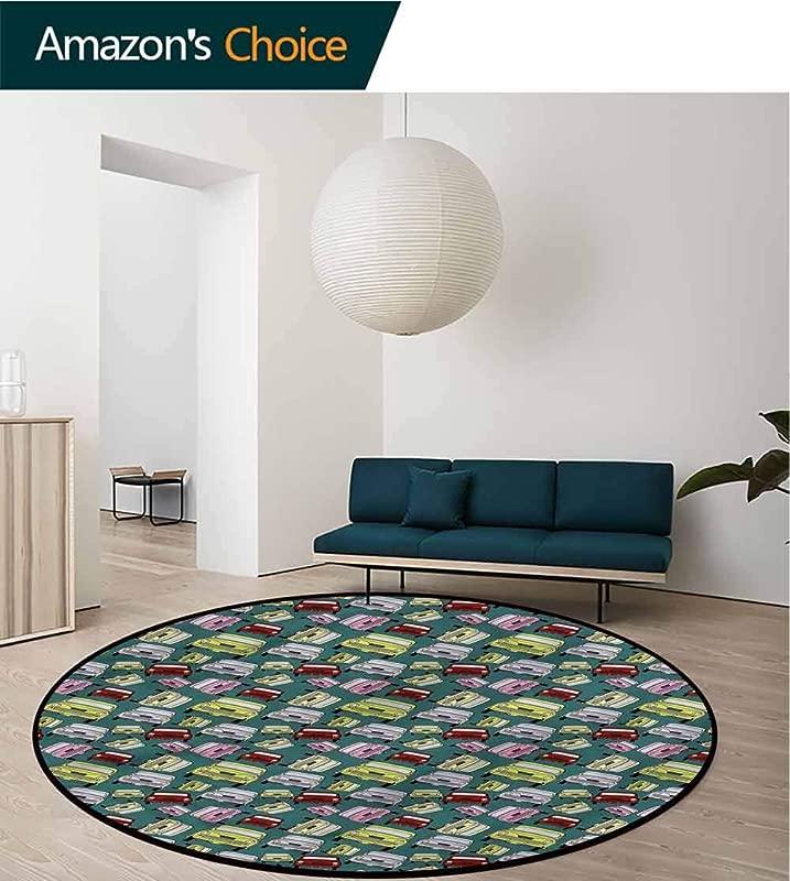 RUGSMAT Cars Super Soft Circle Rugs For Girls Nostalgic Ride Colorful Non Skid Bath Mat Living Room Bedroom Carpet Diameter 24