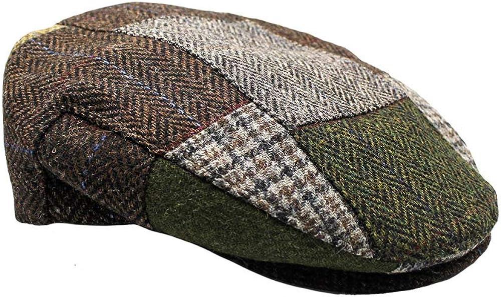 Mucros Weavers Irish Tweed Flat Cap Trinity Style Blue Herringbone Cap 100/% Wool Made in Ireland